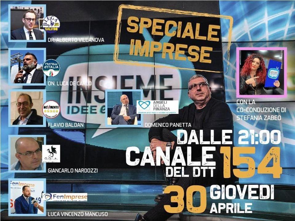 """Domani ore 21:00 il Presidente  Mancuso ospite a """"Insieme idee e persone"""" su Canale Italia nazionale (154 del dtt)"""