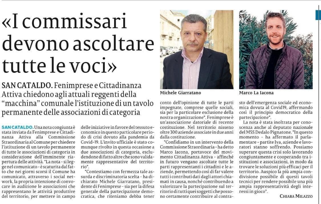 Da FenImprese Caltanissetta il Presidente Michele Giarratano