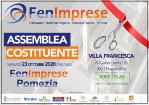 Venerdì 23 ottobre 2020 ore !8:00 presso Villa Francesca, Pomezia, si terrà l'Assemblea Costituente di Fenimprese Roma 3