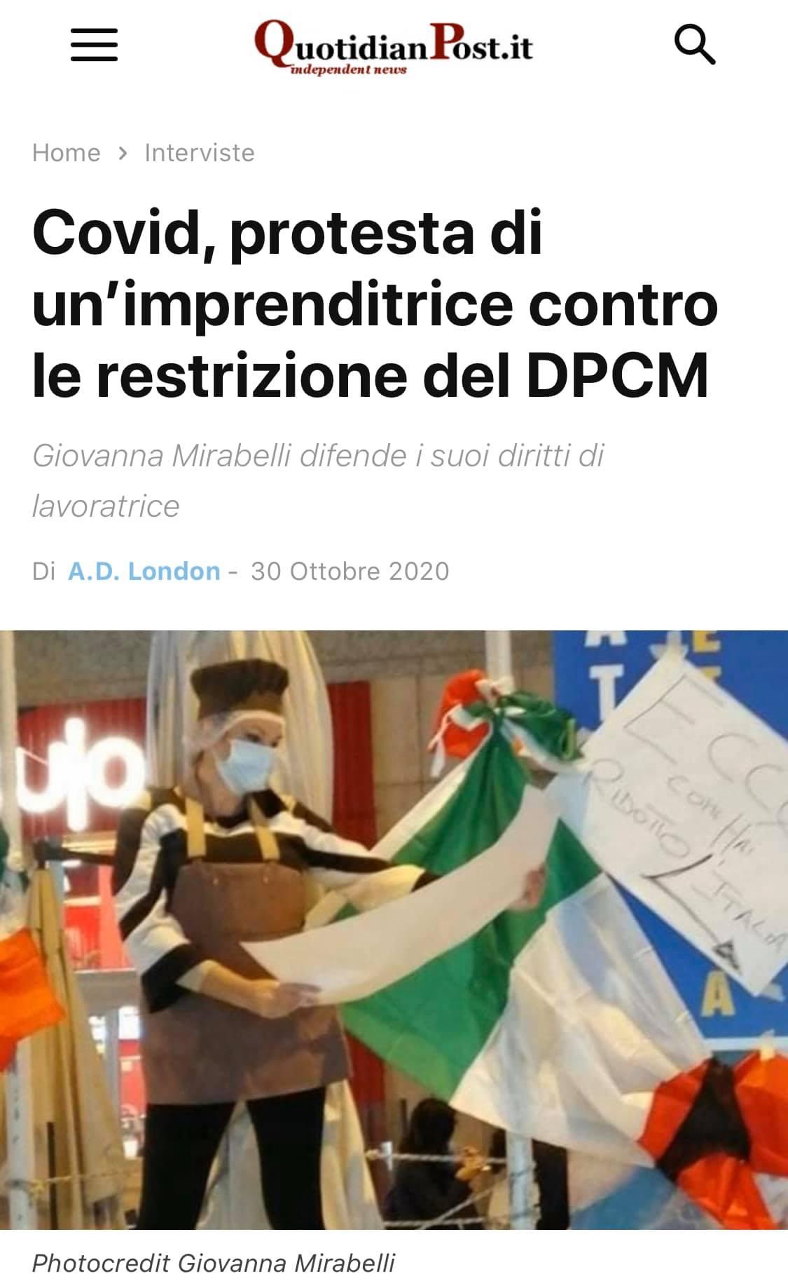 Su QuotidianPost.it la protesta della nostra famosa associata Giovanna Mirabellii contro il DPCM.